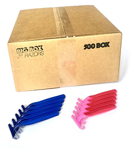 500 Box His & Her Combo Pack of Blue & Pink Bulk Wholesale Disposable Twin Blade Razors for Men & Women by Big Box of Razors