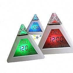 Luweki Pyramid Temperature 7 Colors Change Backlight LED Moon Alarm Clock