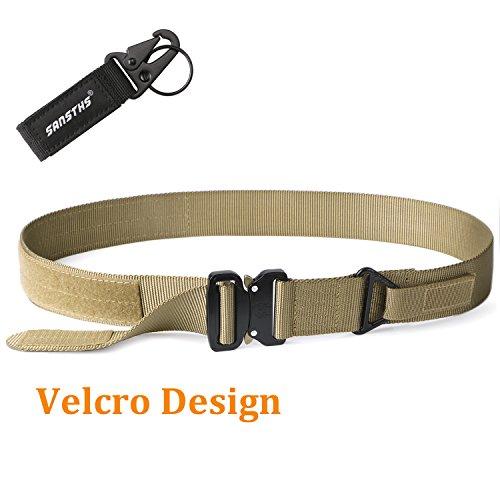 Heavy Duty Combat Belt Men's Quick Lock Buckle Nylon Belt SANSTHS EDC Hunting Gun Belt No Holes Tactical Shooter Belt for 34'' Jeans Tan (Tan Cobra Buckle Belt)