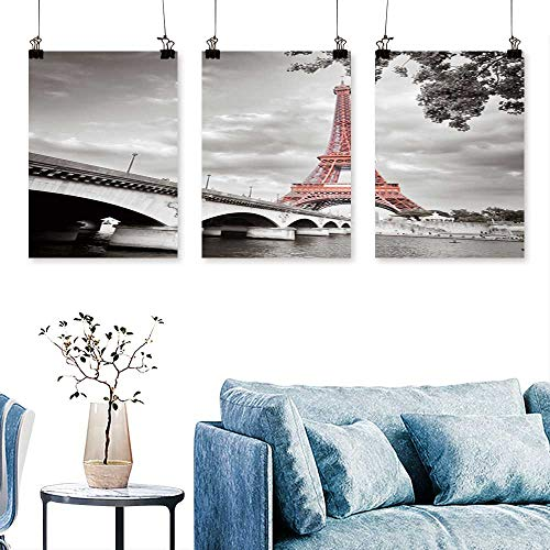 SCOCICI1588 3 Panel Canvas Wall ArtView Eiffel Tower in Monochrome Style Selective colorization to Hang for Living Room No Frame 16 INCH X 40 INCH X 3PCS