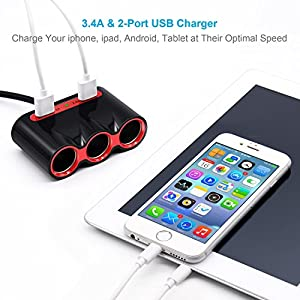 Cigarette Lighter Adapter, 120W 3-Socket Car Cigarette Lighter Splitter 3.4A Dual USB Car Charger Adapter DC 12V/24V Outlet Multi-functions Car Splitter for iPhone iPad Samsung GPS Dashcam