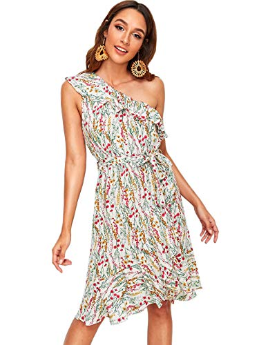 Floral Print Ruffle One Shoulder Belted Beach Dress ()