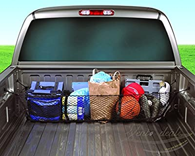 Zento Deals Black Mesh Three Pocket Trunk Cargo Organizer Storage Net