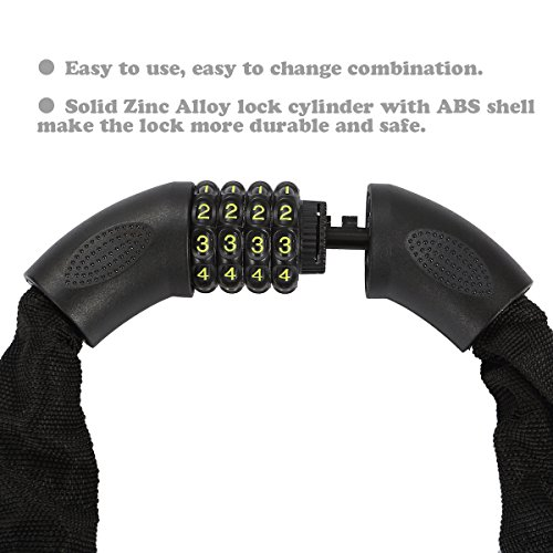 Amazer Bike Lock, Bike Chain Lock with Resettable Combination Security Anti-Theft Bicycle Chain Lock Bike Locks for Bike, Motorcycle, Bicycle, Door, Gate, Fence, Grill by Amazer (Image #2)