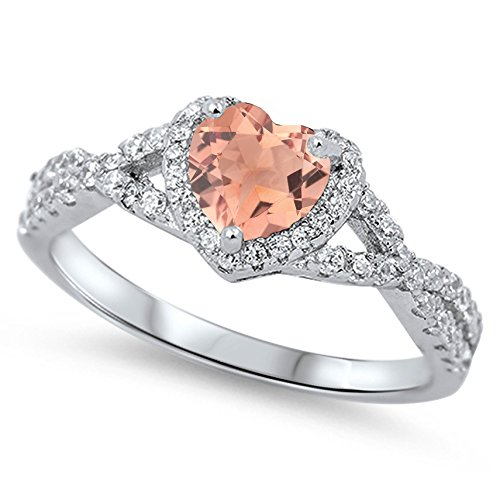 925 Sterling Silver Faceted Natural Genuine Rose Quartz Heart Halo Promise Ring Size 6 ()