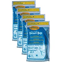 24 Riccar Simplicity Type H Vacuum Bags, Canister Vacuum Cleaners, S13L, S14CL, S18, S24, S30, S36, S38, 1500