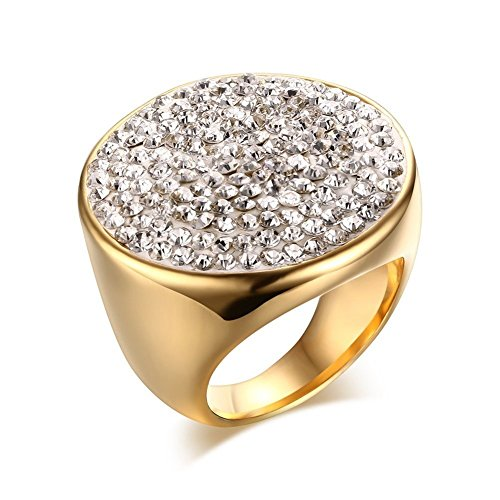 Womens Stainless Steel Huge Domed Round White CZ Rhinestone Crystal Ring,Gold Plated,Size (Huge Gemstone)