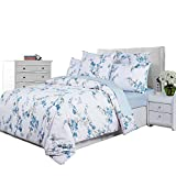 SexyTown Cottage Country Style 3 Piece Duvet Cover Set Reversible Bouquet Print Bedding 100-percent Egyptian Cotton Twin Pattern M