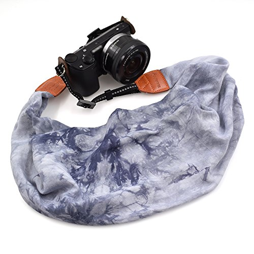 LIFEMATE Scarf Camera Strap,DSLR Camera Strap Universal Neck Strap,Fabric of Bohemia Floral Scarf Camera Strap (Ink Painting Grey)