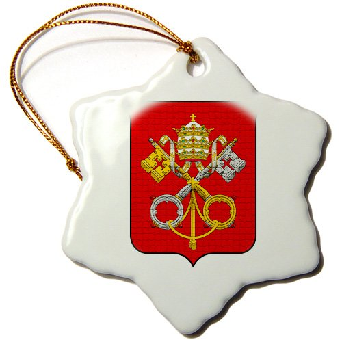 FabPeople - Religion and Humanitarians - Coats of arms of the Holy See and Vatican City in Mosaic (PD-US) - Ornaments - 3 inch Snowflake Porcelain Ornament