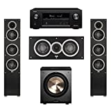 Elac 3.1 System with 2 Debut F5 Floorstanding Speakers, 1 Debut C5 Center Speaker, 1 BIC/Acoustech Platinum Series PL-200 Subwoofer, 1 Denon AVR-X2300W A/V Receiver