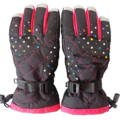Winter Skiing Warm Gloves,Klau Waterproof Outdoor Riding Full Finger Gloves Black for Women's Femal