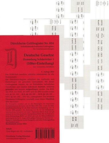 SCHÖNFELDER 100er Dürckheim Griffregister Nr. 814 4. Aufl. 2016  Schönfelder Mit 100er Unterteilung NEUAUFLAGE ISBN 9783864532320