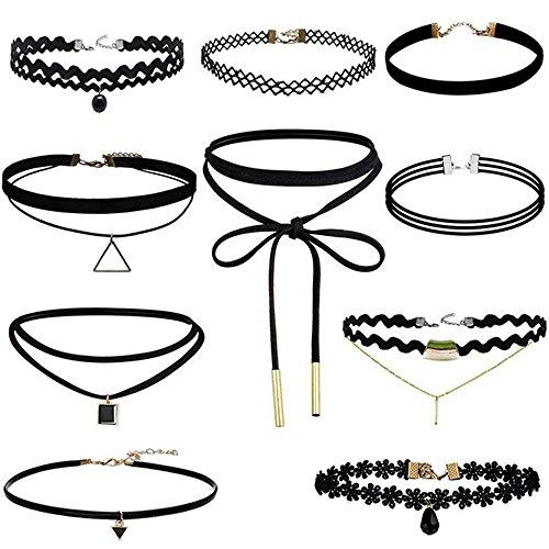 (Leather Chain Necklace for Women Girls Choker Tassel Necklace Velvet Length Adjustable)