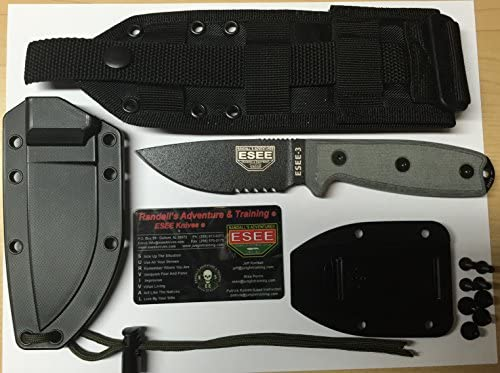 ESEE -3 Serrated Edge Modified Pommel Black Blades with Micarta Handles and Molle Back Sheath