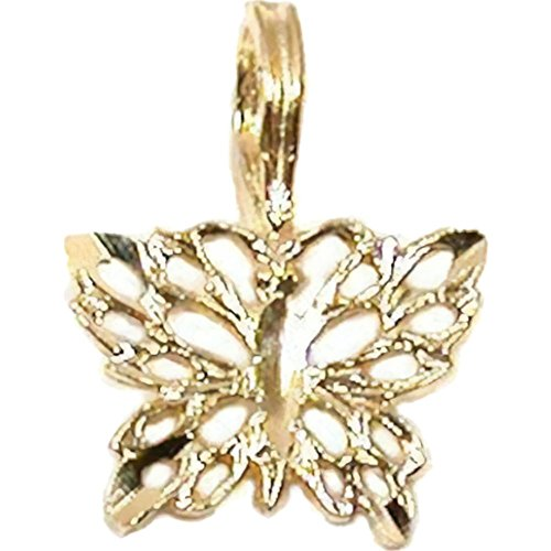 14K Yellow Gold Butterfly Pendant -