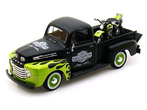 1948 Ford F1 Harley Davidson Truck 1/25 & 1948 Knucklehead Motorcycle Black w/ Green flame