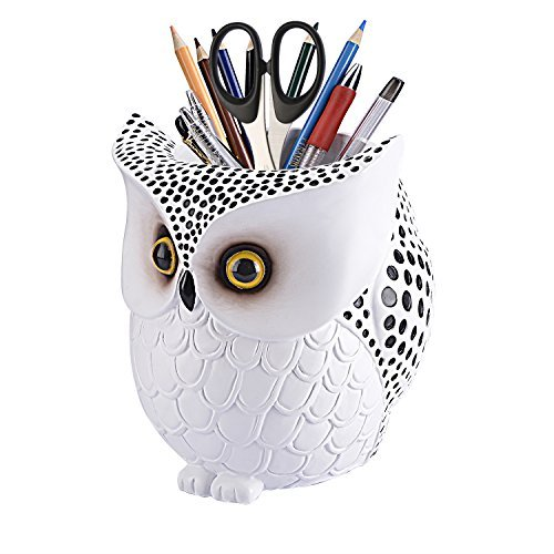 LYASI White Owl Pen Holder Brush Pencil Container Desk Organizer (Large Image)