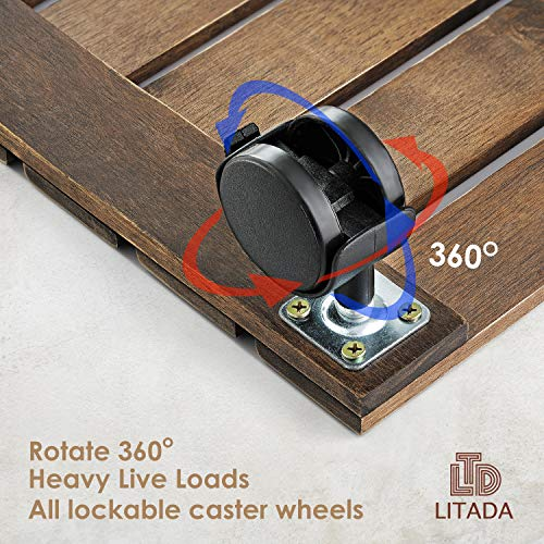 LITADA Wood Plant Caddy Heavy Duty 12 inch Square Plant Roller ...