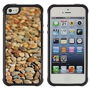 Suave TPU Caso Carcasa de Caucho Funda para Apple Iphone 5 / 5S / Beach Brown Pattern Focus / STRONG
