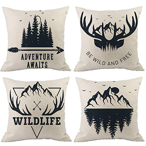 Pillow Toss Deer - WURUIBO Inspirational Cotton Linen Throw Pillow Cover Set of 4 Saying Adventure Awaits Double Side Printed, Home Sofa Decorative Cushion Cover 18