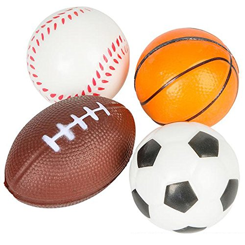 Squeezable Balls (ArtCreativity Sports Stress Foam Balls for Kids (Set of 4) Includes Basketball, Football, Baseball, and Soccer Squeezable Anxiety Relief Balls Idea/ Party Favor for Boys or Girls)
