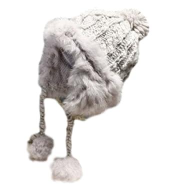 e2047b59bddd8 Vegang Women Winter Real Rex Rabbit Fur Knitted Hat Ear Protector Cap  Outdoor