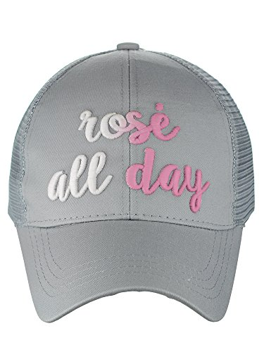 - C.C Ponycap Color Changing 3D Embroidered Quote Adjustable Trucker Baseball Cap, Rosé All Day, Gray