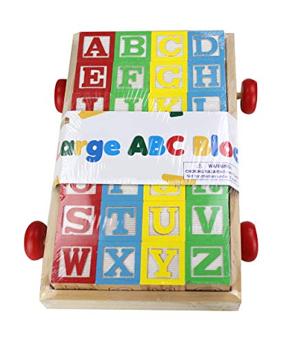 Large Classic ABC Stack N' Build Blocks Wagon - 27 pieces total by Homeware