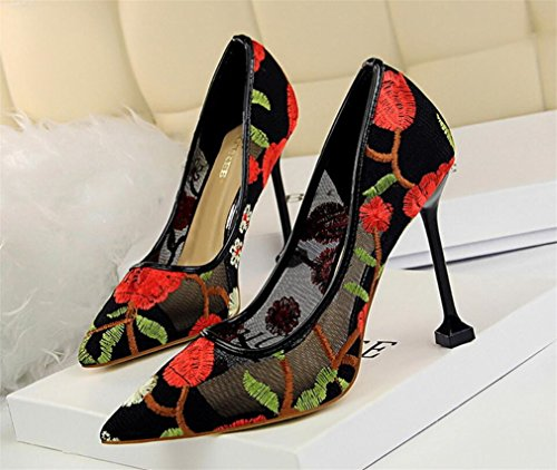 LUCKY CLOVER-A Embroider Court Shoes Women High Heels Sandals Wedding Party Office Luxury Classic Dating Girls Ladies Princess Bride Pumps,Red,EU37