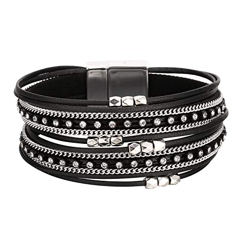Fesciory Women Multi-Layer Leather Wrap Bracelet Handmade Wristband Braided Rope Cuff Bangle with Magnetic Buckle Jewelry(Short Black)