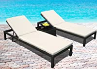 Outdoor Patio Wicker Furniture Pool Lounge All Weather 3-Piece Resin Garden Recliner Set from Mango Home