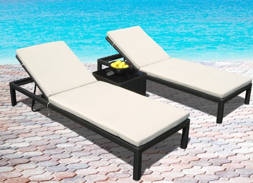 Outdoor Patio Wicker Furniture Pool Lounge All Weather 3-Piece Resin Garden Recliner Set (Garden Lounge San Antonio)