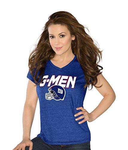 NFL New York Giants Women's Alumni Tri-Blend Short Sleeve V-Neck Top, Small, Royal - Giant Blend