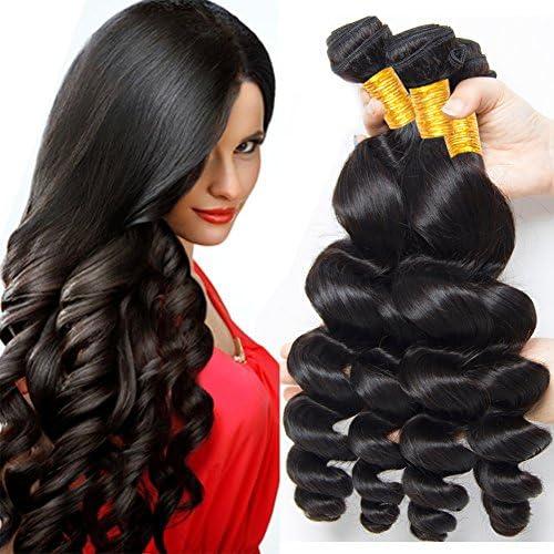 Paquetes de pelo Loose Wave 3 Bultos puede ser teñido brasileño 100% sin procesar Virgen brasileña humano pelo natural negro 95 – 105 g/paquete