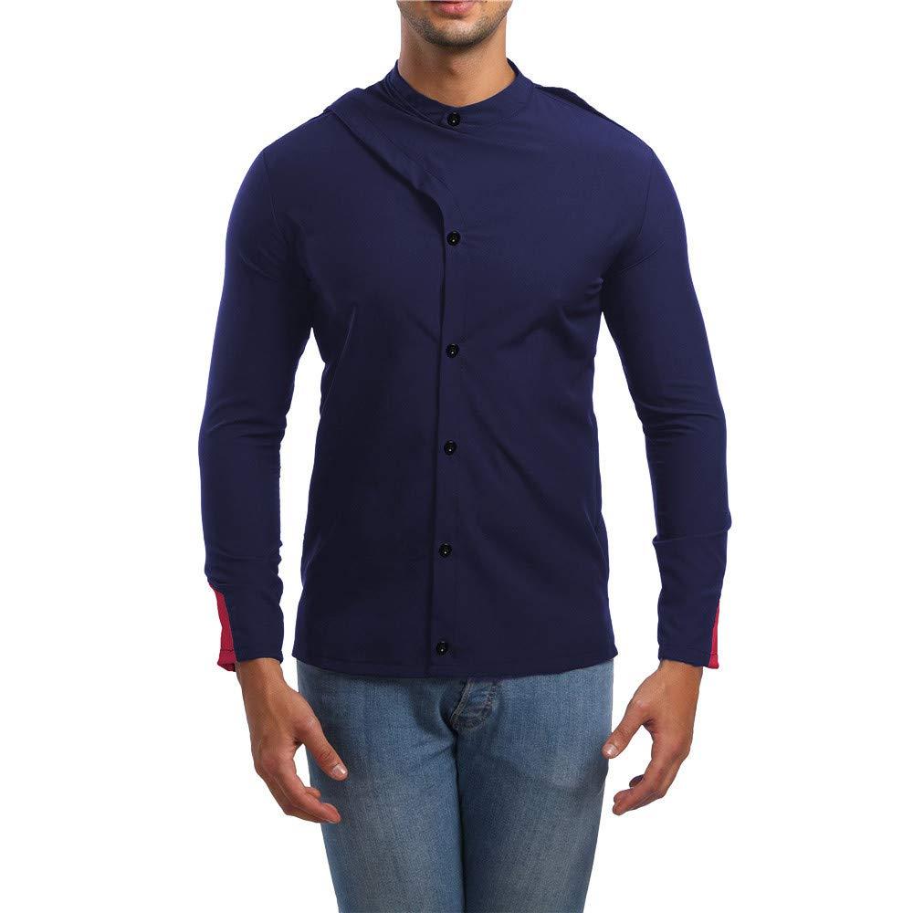 Personalidad de los Hombres del otoño Delgados de Manga Larga de Rayas Camiseta sólida Top Blusa de Internet: Amazon.es: Ropa y accesorios