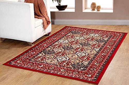 Furnish my Place Traditional Oriental Panel Medallion Area Rug, Persian Style Carpet Maharaja 650, Red