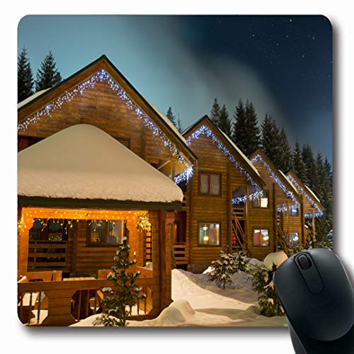 (Ahawoso Mousepads Sky Lodge Ski Chalets Night Nature Holidays Christmas Winter Hotel Roof Oblong Shape 7.9 x 9.5 Inches Non-Slip Gaming Mouse Pad Rubber Oblong Mat)