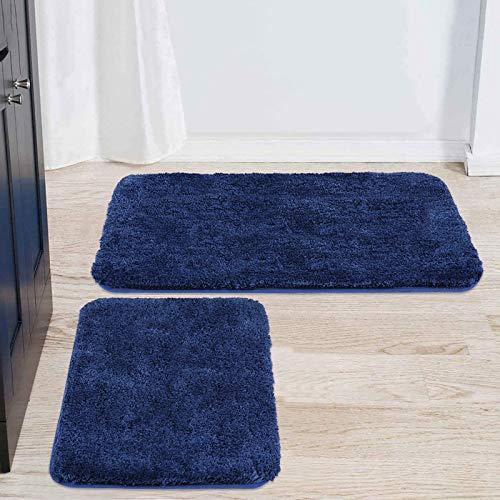 Buganda Microfiber Bathroom Rugs Set 2 Pieces – Shaggy Soft Thick Bath Mat, Non-Slip Machine Wash/Dry Absorbent Shower…