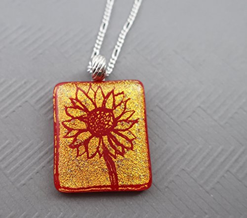 Engraved Gold Red Sunflower fused dichroic glass pendant 20