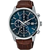 Lorus Men's 42mm Brown Leather Band Steel Case Quartz Blue Dial Analog Watch RM337DX9