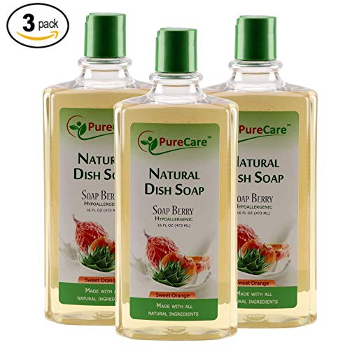 Pure Care Natural Dish Soap, Sulfate-Free Dishwashing Detergent, Septic Safe, Made with Aloe Vera, Soap Berry Extract, and Aromatherapy essential oils 16 ounce (pack of 3)