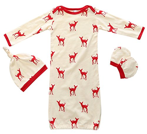 Reindeer Outfits For Babies (Baby Girls Reindeer Sleeping Gown Hat No Scratch Mittens 3Pcs Outfit Clothes size 0-12 Months/S (Red))