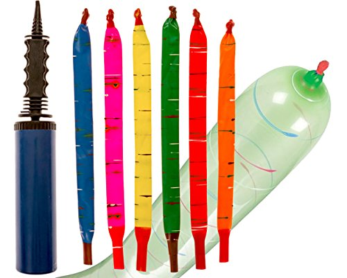 100-Pack of Rocket Balloons with Easy-to-Use Pump - Party Pack, No Need for A Refill - Watch Each Screaming Balloon Rocket to The Sky! by Impresa (Launcher Pump)