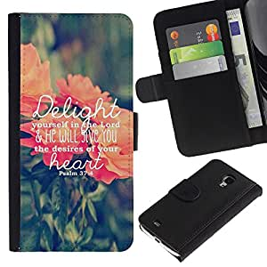 A-type (Delights Text Love God Spring Peach Green) Colorida Impresión Funda Cuero Monedero Caja Bolsa Cubierta Caja Piel Card Slots Para Samsung Galaxy S4 Mini i9190 (NOT S4)