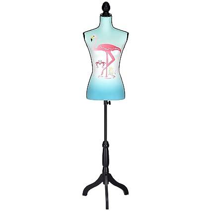 Height Adjustable Female Mannequin Torso Dress Form Display w//Black Tripod Stand