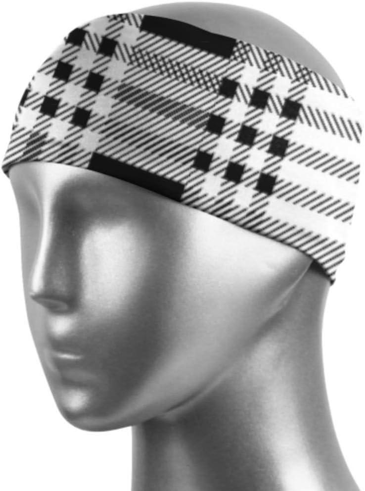 Diadema para mujer con textura de cuadros negros y blancos, para adolescentes, unisex, que absorbe la humedad, antideslizante, para deportes, fitness, entrenamiento, gimnasio, yoga, correr