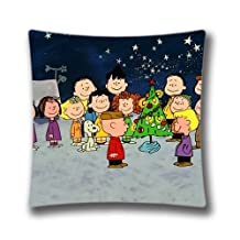 Christmas Decorative Pillow Cover-Xmas Stuff For Charlie Brown Christmas Gif Square Pillow Case Unique 18x18 Decorative Pillowcase for Christmas Zippered Single Side Pattern Cotton Linen Cushion Cover