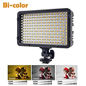 Venidice 198 LED Bi-color Dimmable 7200k Panel camera comcorder Photography DV video Led light for Almost all Digital Camera With NP-750 Battery Charger 1/4 Hot Shoe by Venidice