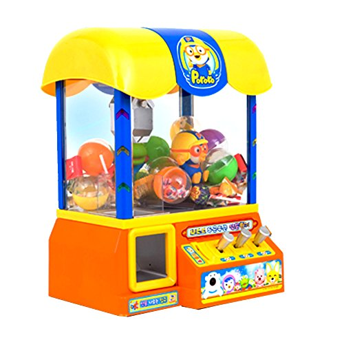 [Ginaworld]Pororo Claw Candy Toy Grabber Crane Machine with Pororo vioce Sound and songs + candy 10pcs + chupachups 10pcs + Toy Sanitizer 30ml by Pororo